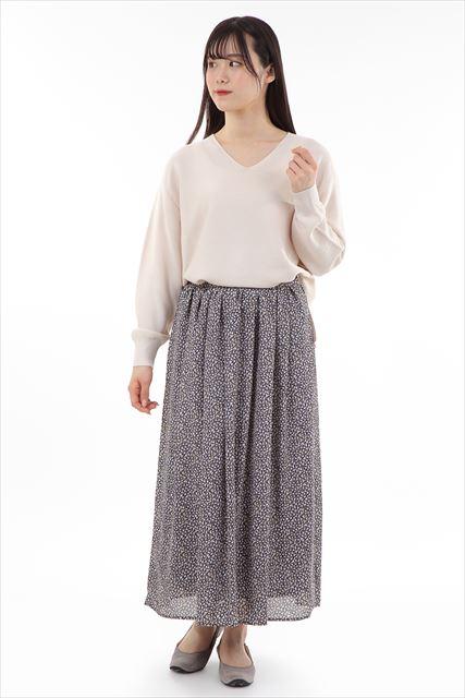 小花柄ロングギャザースカート