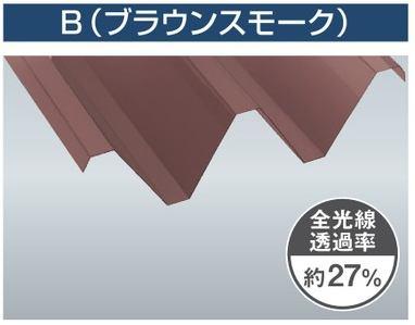 1.5mm厚 Y500(2山) ブラウンスモーク 耐候熱線カットグレード タキロンシーアイ ポリカ折板 150cm〜1,200cm