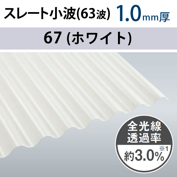 畜産波板 スレート小波 63波 1.0mm厚 10枚セット タキロンシーアイ 6尺、7尺、8尺、9尺、10尺