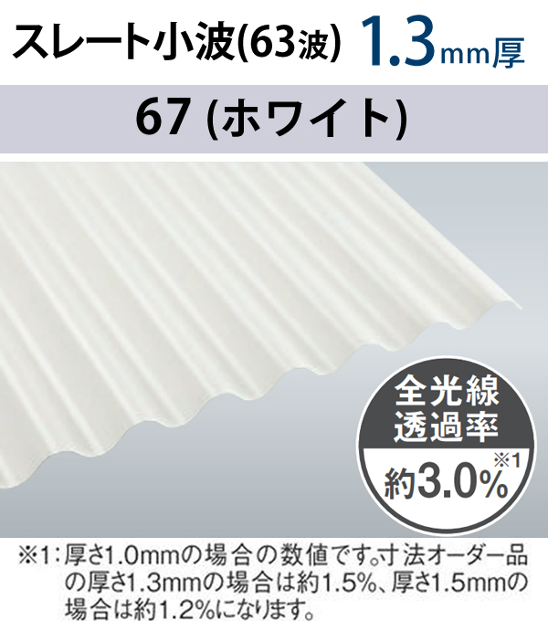 オーダーサイズ 畜産波板 スレート小波 63波 1.3mm厚 10枚〜 タキロンシーアイ 3,040mm〜9,000mm