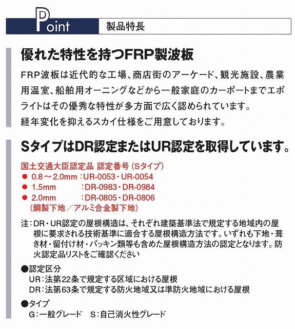 クリア 鉄板小波 32波 FRP波板 エポライト Gタイプ(一般グレード) 0.8mm厚 タキロンシーアイ 5枚〜