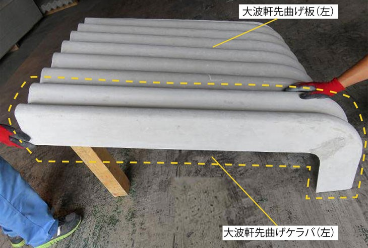 大波軒先曲げ板 C型 6尺 3寸勾配 右葺き用/左葺き用 お引き取り