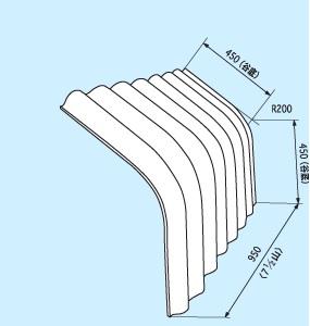 大波軒先曲げ板 B型 3寸勾配 配送
