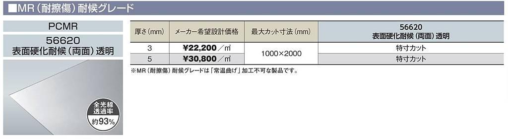 PCMR-56620 5mm厚 透明 MR(耐擦傷)耐候グレード 表面硬化耐候(両面) ポリカ平板 タキロンシーアイ