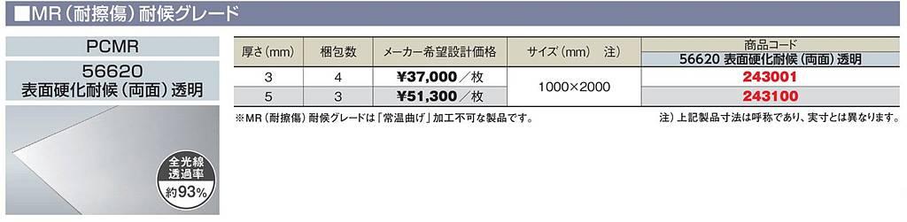 4枚セット(1,000mm x 2,000mm) PCMR-56620 3mm厚 透明 MR(耐擦傷)耐候グレード 表面硬化耐候(両面) ポリカ平板 タキロンシーアイ