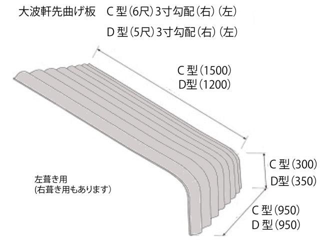 大波軒先曲げ板 D型 5尺 3寸勾配 右葺き用/左葺き用 お引き取り