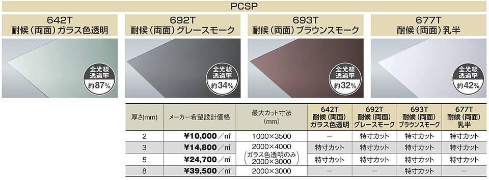 PCSP-692T 3mm厚 グレースモーク 耐候(両面)グレード ポリカ平板 タキロンシーアイ