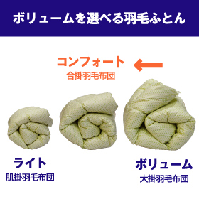 [氣代謝ふとん] 合掛羽毛布団(コンフォート) シングルサイズ 【ウォッシャブル】
