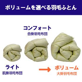 [氣代謝ふとん] 羽毛布団(ボリューム) セミダブルサイズ 【ウォッシャブル】