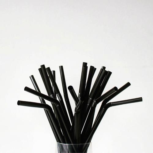PLAフレックスストロー(黒)個包装 5000本