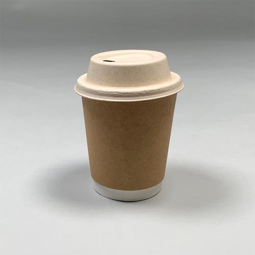 80mm口径 紙カップ対応ドリンキングECO紙フタ(茶)1000個