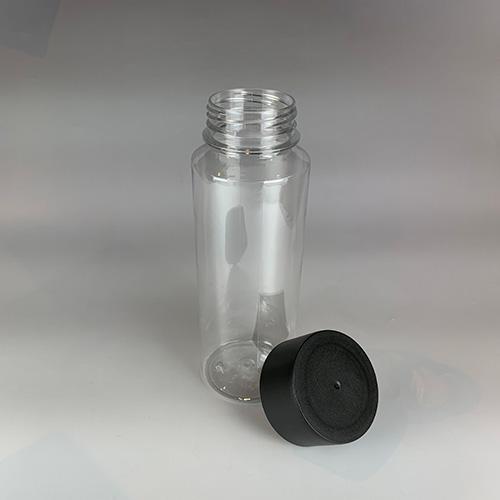 ドリンクボトル 300ml シリンダー 黒フタ付き 100個