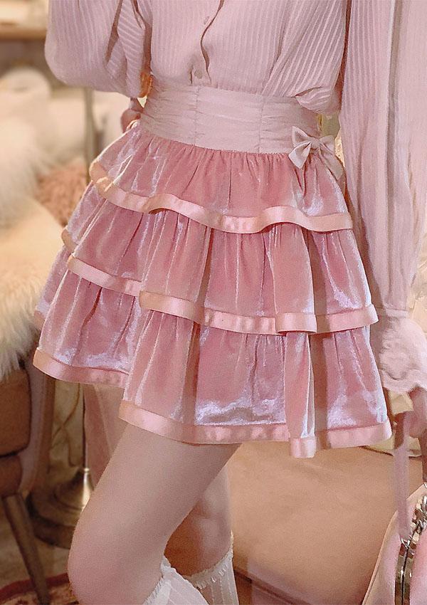 《新作》3段フレアシャイニーミニスカート-全2色-
