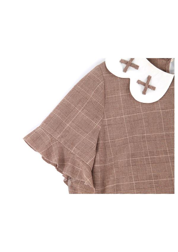 [残り1点]チェック柄フラワー襟ミニ丈トップス-全3色-