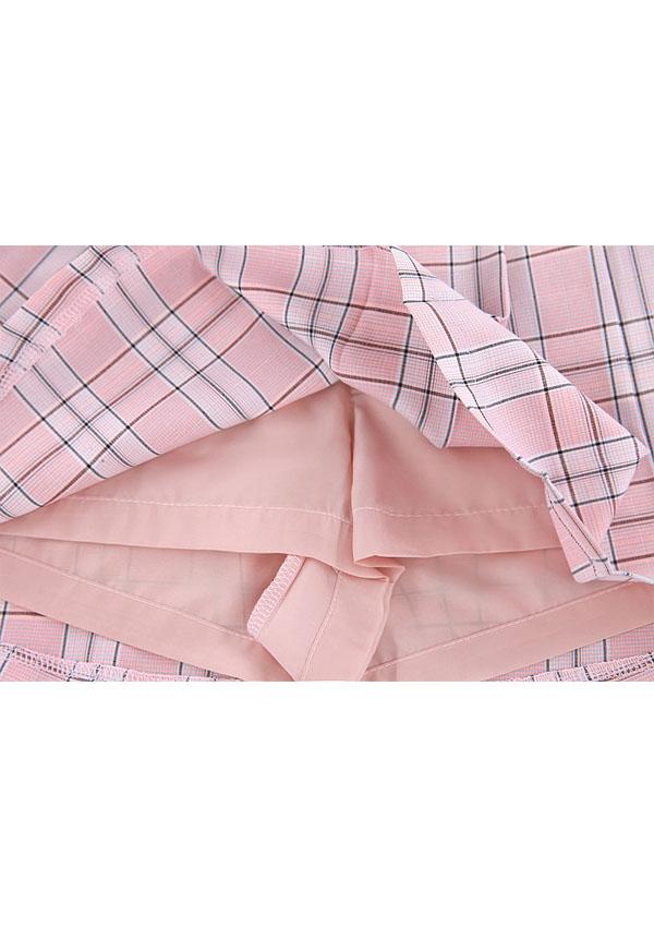《新作》プリーツチェックイレギュラースカート-全2色-