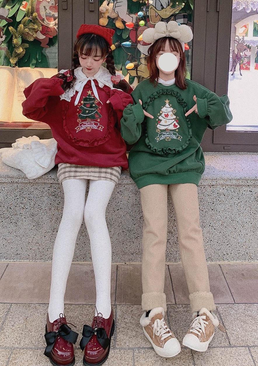 クリスマスツリー裏起毛スウェットトップス-全2色-
