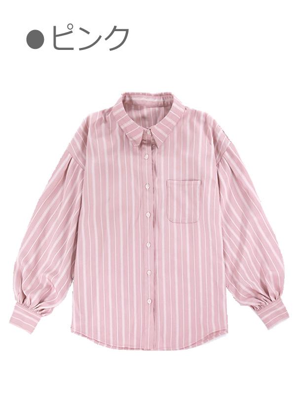[残り2点]ゆるカジストライプオーバーサイズシャツ-全2色-