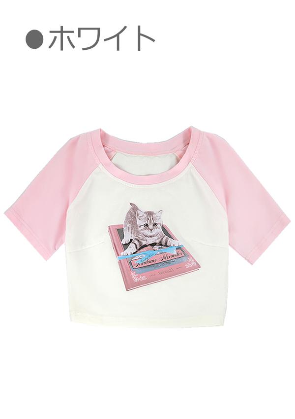 [残り8点]こねこプリントリンガーチビTシャツ-全1色-