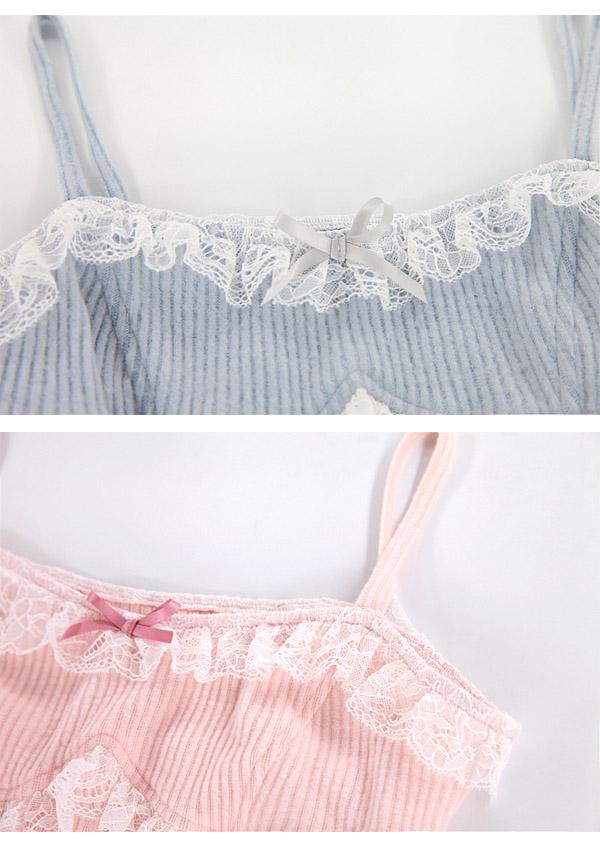 [予約]裾シャーリングニットキャミワンピース-全2色-