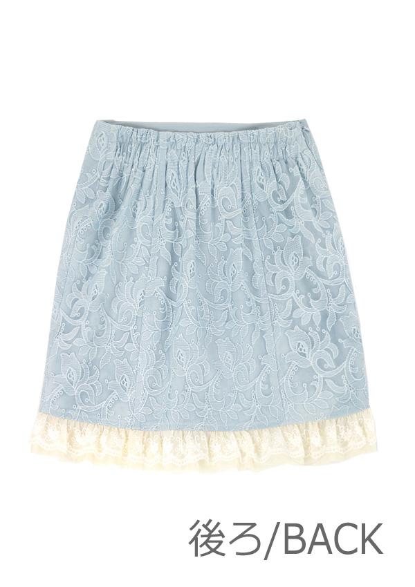 [予約]ミニフリルALLレースタイトスカート-全2色-