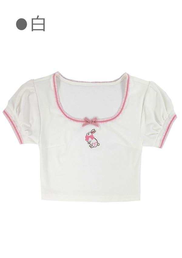 [予約]リボンうさぎ刺しゅう入りチビTシャツ-全2色-