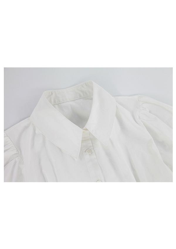 [残り僅か]清楚ガーリーパフスリーブ半袖ブラウス-全2色-