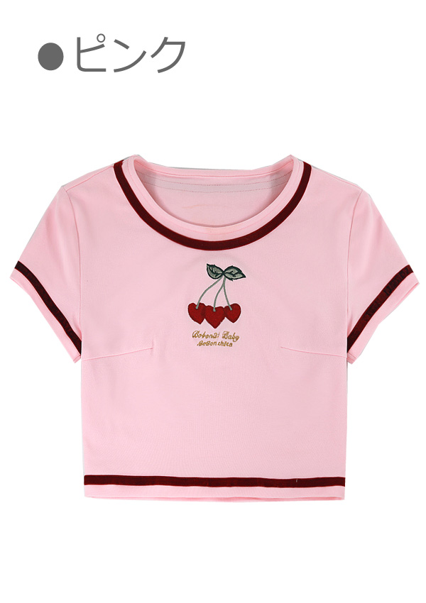 [残り2点]ハートチェリーリンガーチビTシャツ-全2色-