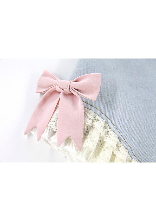 リボンデコ裾レースデニムショーパン-全2色-