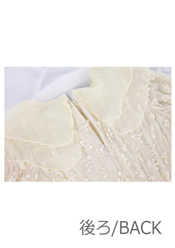 オーガンジー襟フラワードレス-全1色-