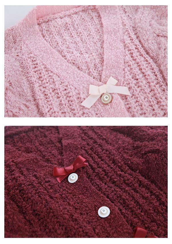 ★SALE10%オフ★ざっくりケーブル編みリボンカーディガン-全2色-