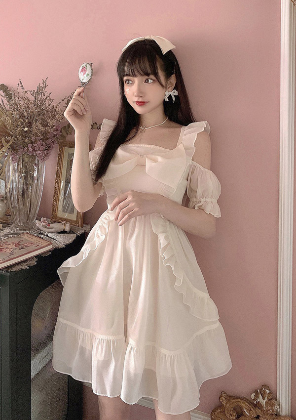 [残り1点]オフショルシャイニーBIGリボンドレス-全2色-