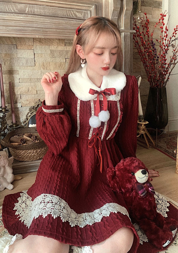 ★SALE/10%オフ★上品ガーリーウィンタードレス-全3色-