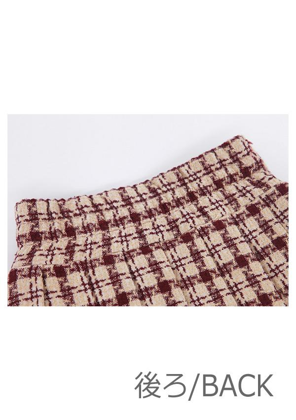 ★SALE/30%オフ★[残り5点]千鳥柄サイドポケットプリーツスカート-全2色-