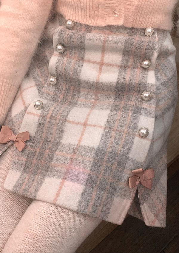 ★SALE/30%オフ★ダブルボタンチェック柄タイトスカート-全2色-