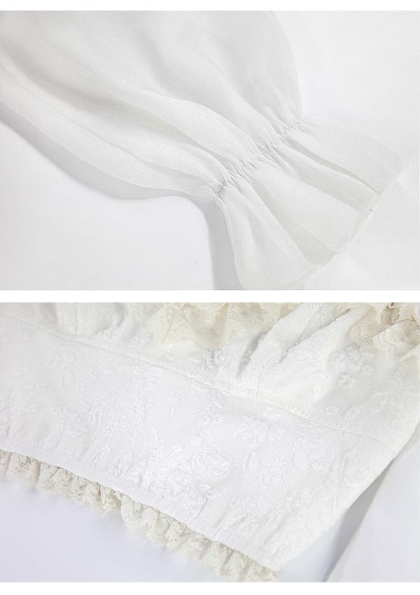 [残り4点]《新作》3WAYロングチュール袖花柄トップス-全1色-
