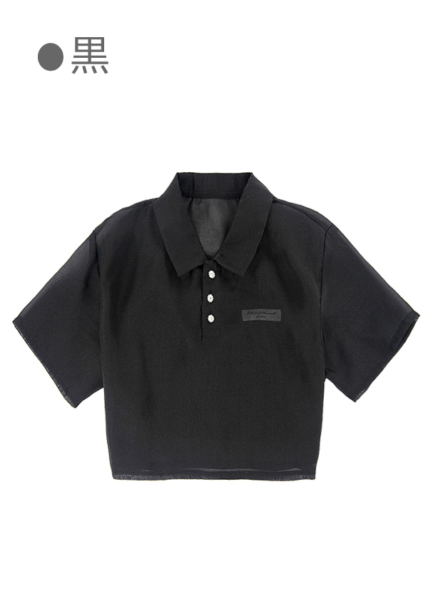 ★SALE/50%オフ★[残り1点]シースルーシャイニーシャツ/キャミ付き-全3色-