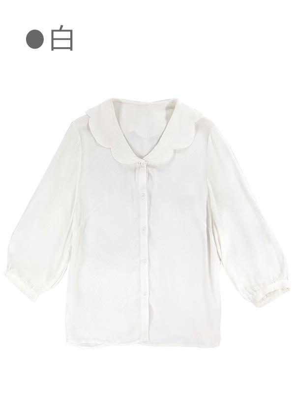 [残り3点]《新作》スカラップ襟七分袖シフォンブラウス-全2色-