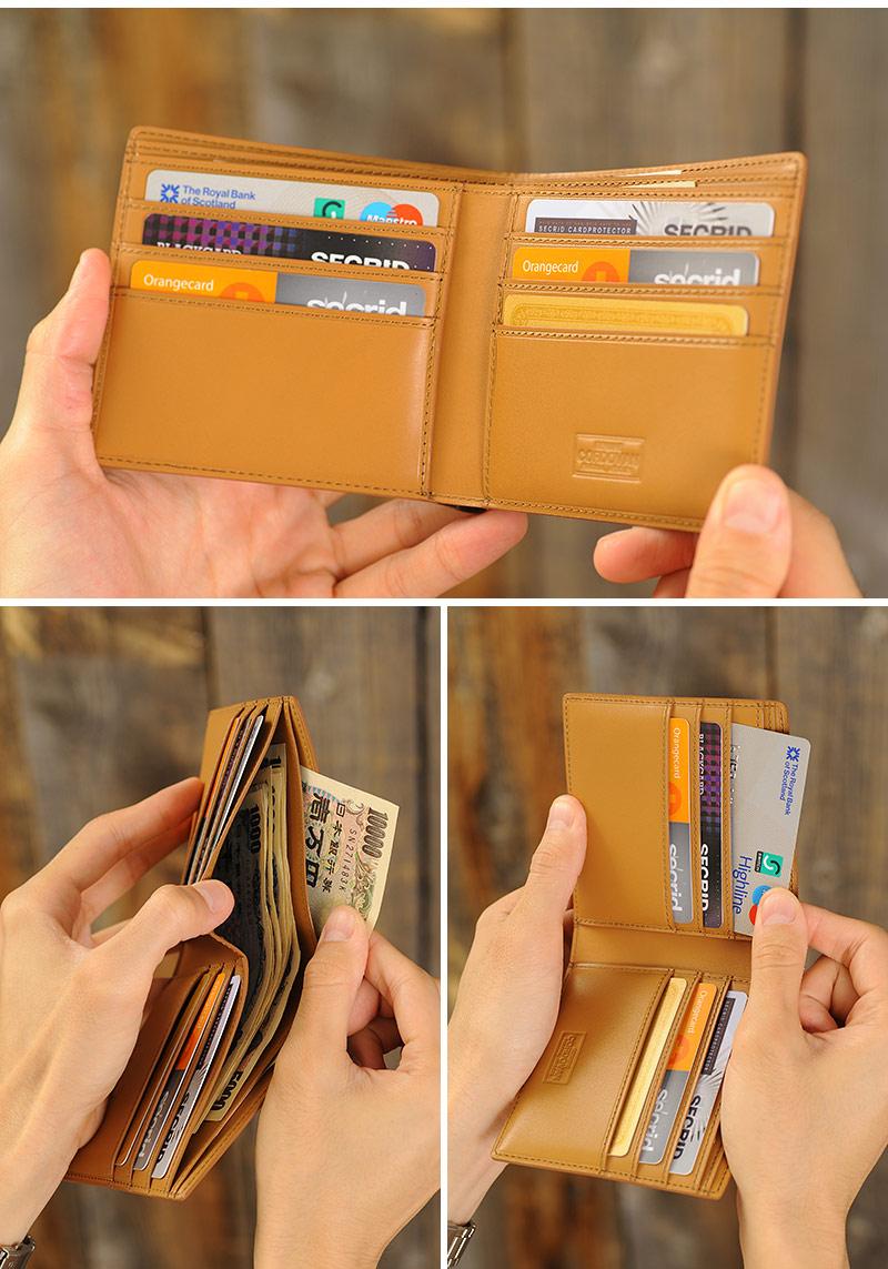 GENUINE CORDOVAN コードバン二つ折り財布 小銭入れなし