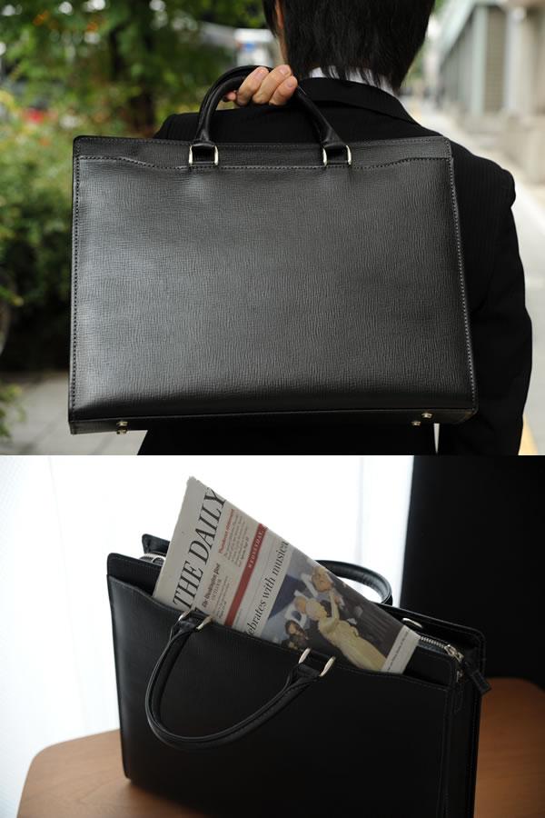 青木鞄 ブリーフケース 型押し牛革 Lugard BALBOS ブラック No.4322-10