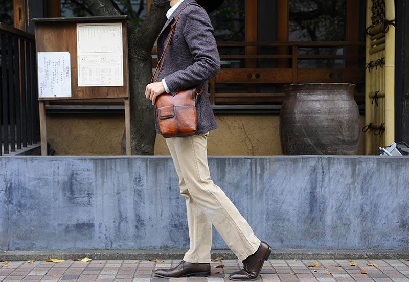 青木鞄 Lugard シャドー牛革ミニショルダーバッグ G-3