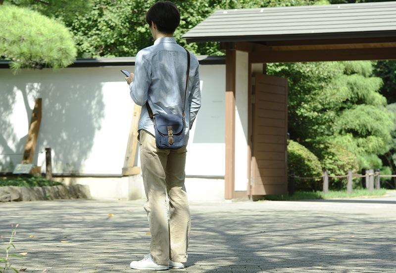 豊岡鞄 こうのとり帆布 縦型ミニショルダーバッグ 一帆