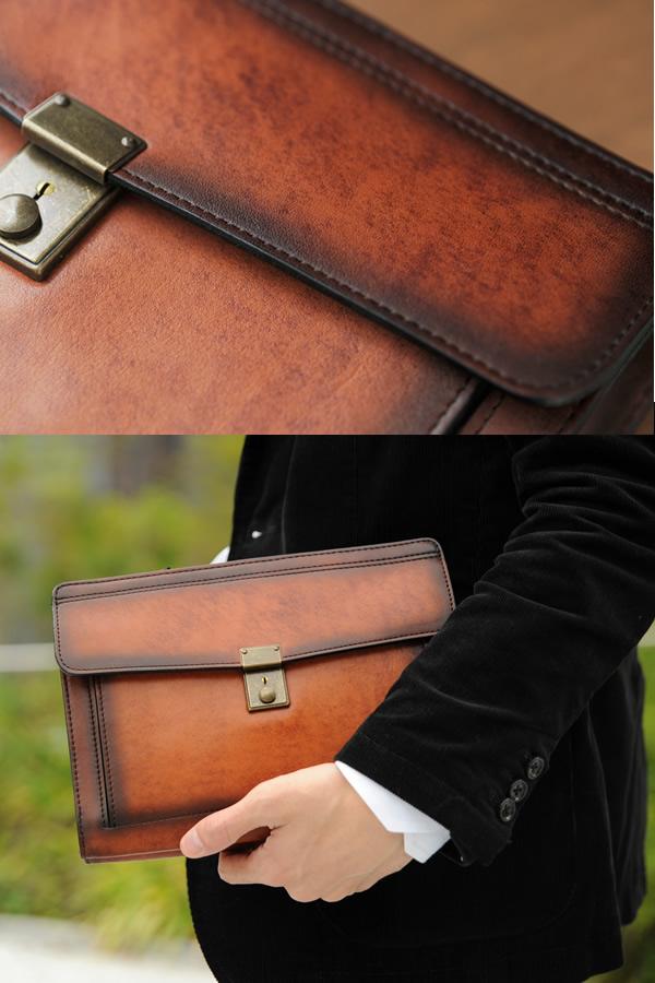 青木鞄 Lugard シャドー牛革 クラッチバッグ G-3 ブラウン No.5216-50