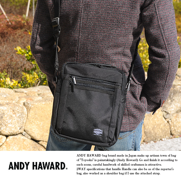 ANDY HAWARD 縦型ミニショルダーバッグ ブラック No.33628