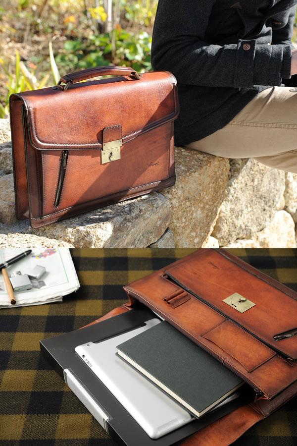 青木鞄 本革 ブリーフケース G-3 Lugard ブラウン No.5219-50