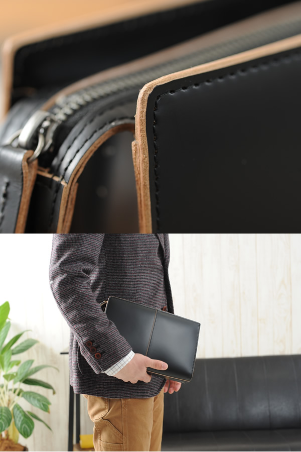 青木鞄 COMPLEX GARDENS メンズ セカンドバッグ 本革 ガラス牛革 枯淡 ブラック No.3705-10