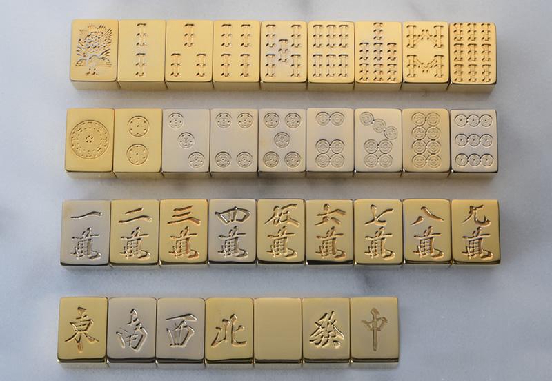 極 金の牌 24金メッキ 麻雀牌 136牌フルセット