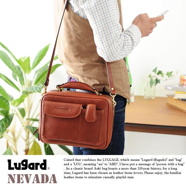 青木鞄 Lugard メンズショルダーバッグ 牛ヌメ革 NEVADA