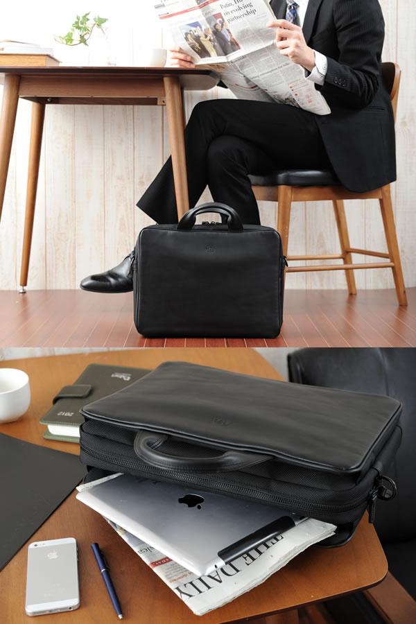 青木鞄 GAZA ブリーフケース LOAM ブラック No.6122-10
