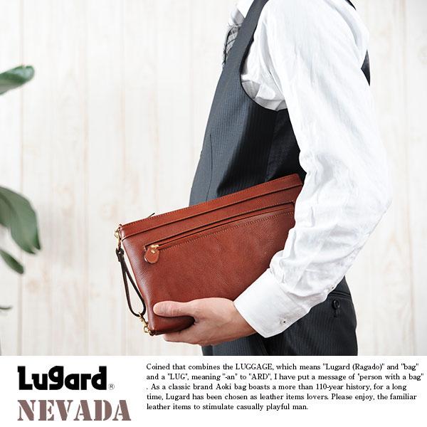青木鞄 Lugard 牛ヌメ革 クラッチバッグ NEVADA
