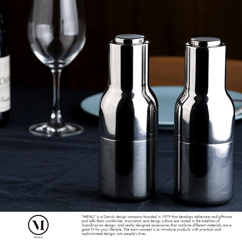 MENU 調味料入れ おしゃれ 容器 ボトルグラインダー ステンレス製 ソルトミル & ペッパーミル 2個 セット